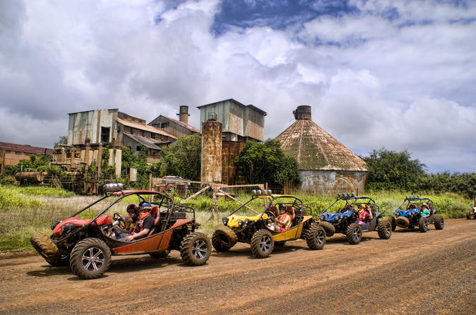 Hop in one of our four-wheel-drive adventure vehicles and traverse former Lihue Plantation lands deep into Kauai's pristine emerald green interior